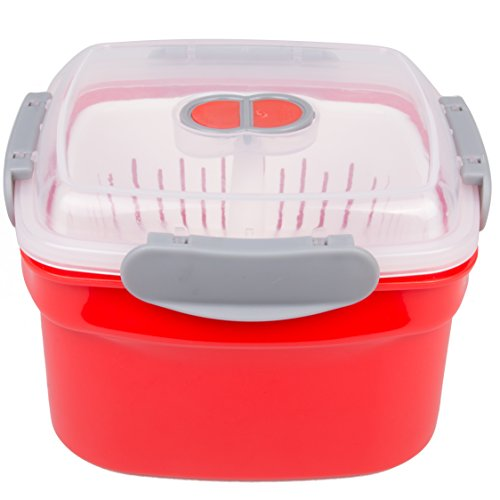 Microwave Cookware Steamer- 3 Piece Microwave Cooker w Food Container, Removable Strainer and Locking Steam Vent Lid- BPA Free, Fridge and Freezer Safe