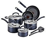 T-fal B129SC Color Luxe Hard Titanium Nonstick Thermo-Spot Dishwasher Safe PFOA Free Cookware Set, 12-Piece, Blue