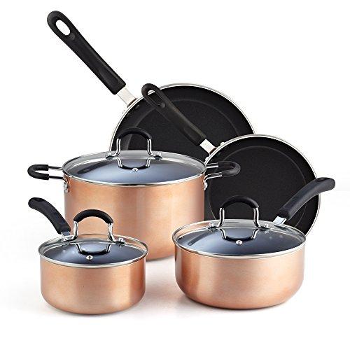 Cook N Home 02581 8 Nonstick Heavy Gauge Cookware Set, 8-Piece, Copper/Brown