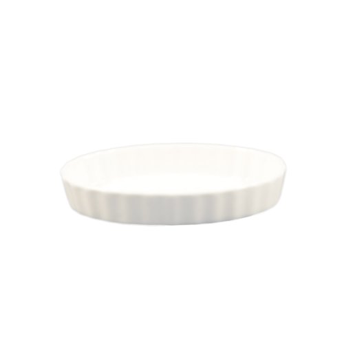 CAC China QSV-8 12.5-Ounce Porcelain Oval Fluted Quiche Baking Dish, 8 by 5-3/4-Inch, Super White, Box of 24