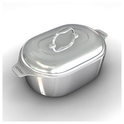 Gourmet 16.5″ Heavy Cast Aluminum Covered Oval Roaster with Non-Stick Interior