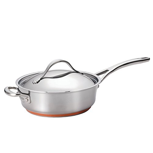 Anolon Nouvelle Copper Stainless Steel 3-Quart Covered Saute Pan with Helper Handle