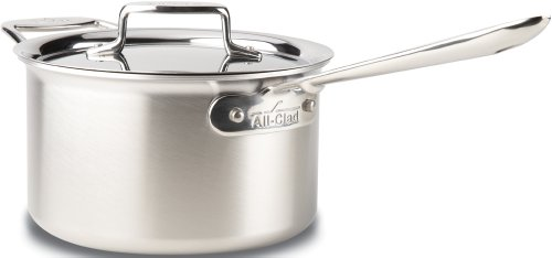 All-Clad d5 Polished Stainless Steel 4-Quart Sauce Pan with Lid