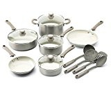 Trisha Yearwood Cottage Precious Metals 14 Piece Non-Stick Ceramic Cookware Set, Titanium