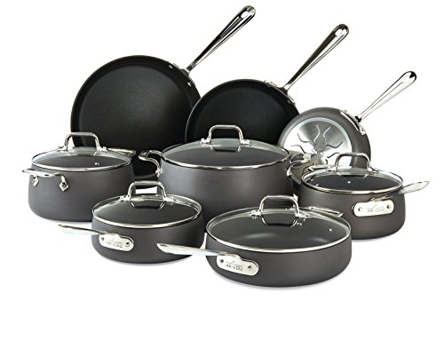 All-Clad Nonstick Cookware Set, Hard Anodized, Dishwasher Safe, 13-Piece, Black, Model E785SB64