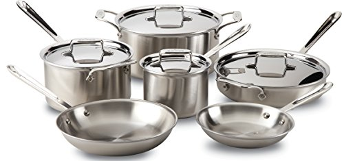 All-Clad BD005710-R D5 Brushed 18/10 Stainless Steel 5-Ply Bonded Dishwasher Safe Cookware Set, 10-Piece, Silver