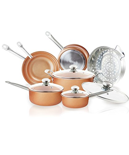 11 PCS set cookware - Induction non-stick cookware set ceramic cookware set Dishwasher and oven Safe copper cookware set