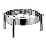 Chafer Frame, Straight Leg - Stainless Steel - Fits Induction Ready 6 Quart Round Chafer Body - Commercial Grade - 1ct Box - Met Lux - Restaurantware