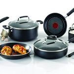T-fal E821SC Expert Grip Titanium Nonstick Interior Cookware Set, 12-Piece, Black
