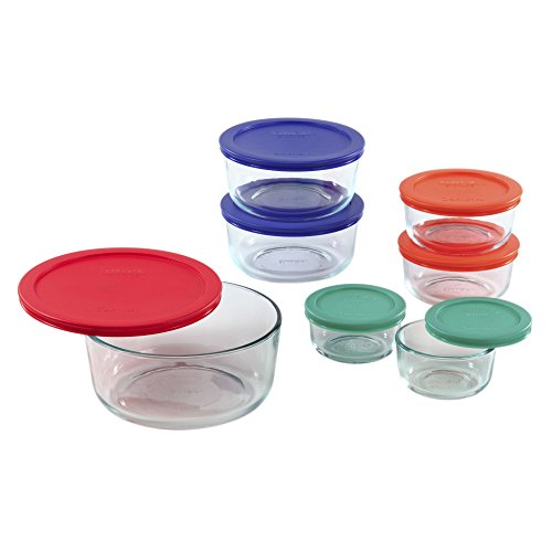 Pyrex Simply Store 14 Piece Round Food Storage Set with Colored Lids, Multi
