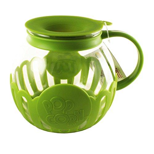 Ecolution Micro-Pop Microwave Popcorn Popper 3QT – Temperature Safe Glass w/Multi Purpose Lid (Large, Green)