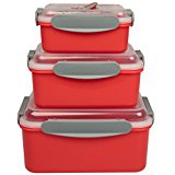 Microwave Food Storage Containers- Set of 3 Nesting Microwave Cookware Meal Prep Containers w Locking Steam Vent Lids- BPA Free, Fridge and Freezer Safe