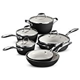 Tramontina 80110/525DS Gourmet Ceramica Deluxe Cookware Set, PFOA- PTFE- Lead and Cadmium-Free Ceramic Interior, 10-Piece, Metallic Black, Made in Italy