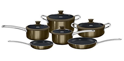 Kenmore 10-pc. Ceramic Nonstick Cookware Set in Gunmetal Finish (Titanium Ceramic Coating, Induction Bottom)