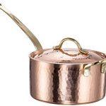 New DEMMEX 1.2MM Thick Hammered Copper Saucepan with Lid & Helper Handle (1.7-Quart)