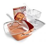 "Copper Chef 5 Piece Cookware Set - 9.5"" Deep Square Frying Pan with Non stick Ceramic Coating, Includes Glass Lid, Fry Basket, Steamer Rack & Recipe Book"