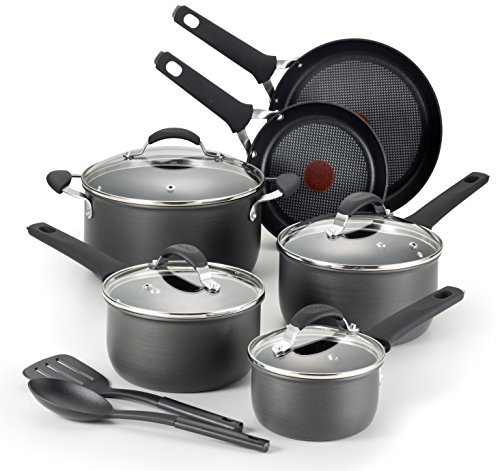 T-fal E817SC Endura Hard Anodized Titanium Nonstick Dishwasher Safe Cookware Set, 12-Piece, Black