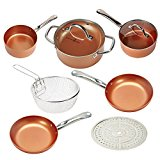 Copper Chef Cookware 9-Pc. Round Pan Set –Aluminum & Steel With Ceramic Non Stick Coating. Includes Lids, Frying and Roasting Pans Accessories