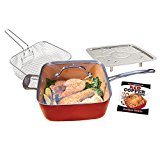 BulbHead 11198 Red Copper Square Pan 5 Piece Set by BulbHead, 10-Inch Pan, Glass Lid, Fry Basket, More
