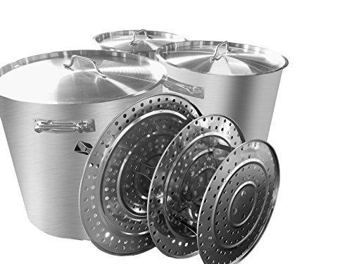 Bioexcel Set of 3 Professional Grade Stainless Steel Heavy Duty Commercial Stock Pots with Steamers & Lid Covers - 64 QT, 84 QT, 100 QT