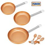 Frying Pan Set, Non-stick Chef Pan, Copper Style Pan with Stainless Steel Handle, Deik PFOA free Skillet, Dishwasher and Oven Safe Cookware Set 3 Pack with 3 Bonus Professional Spatula and Spoon