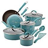 Rachael Ray Cucina Hard Porcelain Enamel Nonstick Cookware Set, 12-Piece, Agave Blue
