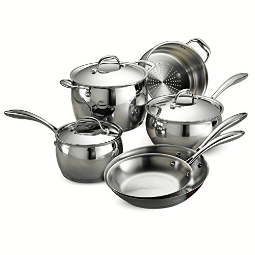 Tramontina 80102/201DS Gourmet Domus Stainless Steel, Induction-Ready, Impact-Bonded, Tri-Ply Base Cookware Set, 9 Piece, Made in Brazil