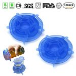 Bowl Covers Reusable Lid Covers Silicone Stretch Lids Cover for Bowls,Pots,Cups for Keeping Food Fresh,Dishwasher and Freezer Safe(12 Pack,Blue)