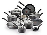 T-fal E765SH Ultimate Hard Anodized Scratch Resistant Titanium Nonstick Thermo-Spot Heat Indicator Anti-Warp Base Dishwasher Safe Oven Safe PFOA Free Cookware Set, 17-Piece, Gray