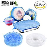Silicone Lids,12 Packs Seal Food Stretch Wrap Reusable Cover Lids,Heat Resistant,Fit Various Sizes and Shapes of Containers,Microwave and Dishwasher Safe