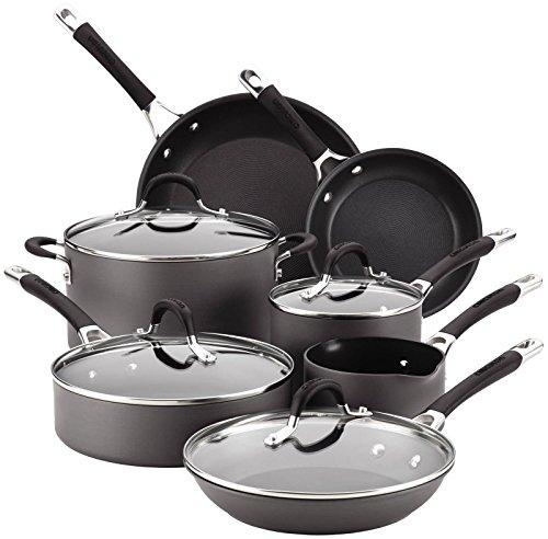 Circulon Momentum Hard-Anodized Nonstick 11-Piece Cookware Set – Gray