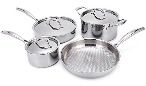 HUFTGOLD Stainless Steel Cookware Set, 7-Piece Tri-Ply Professional Cookwares, Nonstick Induction Cookware Set