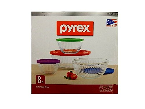 Pyrex 8-piece 100 Years Glass Mixing Bowl Set (Limited Edition) – Assorted Colors Lids