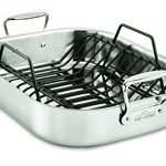 All-Clad E752C264 Stainless Steel Dishwasher Safe Large 13-Inch x 16-Inch Roaster with Nonstick Rack Cookware, 16-Inch, Silver
