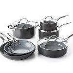 GreenPan CC000675-001 Valencia Pro Hard Anodized 100% Toxin-Free Healthy Ceramic Nonstick Metal Utensil Dishwasher/Oven Safe Cookware Set, 11-Piece, Grey