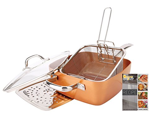Non-Stick Copper Titanium Chef 5 Piece 9.5″ Square Pan Set