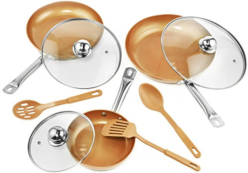 Copper Frying Pan Set with Lids and Spoons – Non-Stick Chef Pan 8,10 &12'' – Heavy Duty Temepered Glass Lids – PFOA Free Skillet, Oven & Dishwasher Safe 3 Pans 3 Lids 3 Professional Spatula & Spoon
