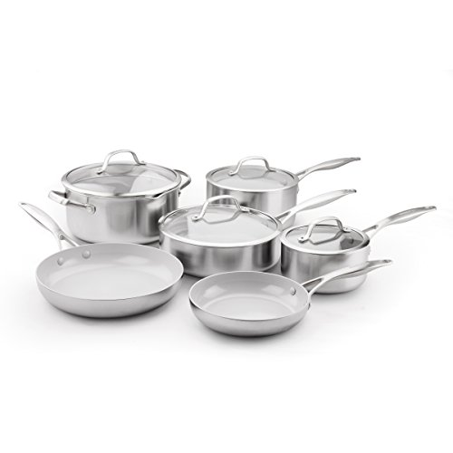 GreenPan CC000018-001 Venice Pro Stainless Steel 100% Toxin-Free Healthy Ceramic Nonstick Metal Utensil safe Dishwasher/Oven Safe Cookware Set, 10-Piece, Light Grey
