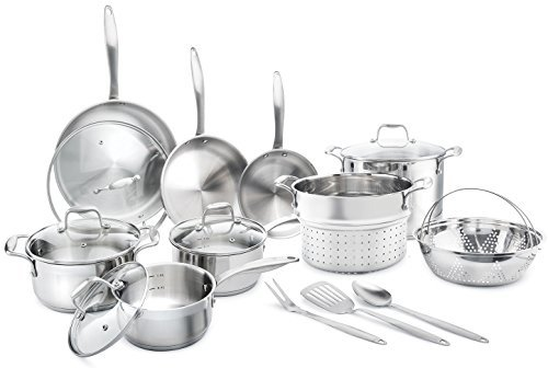Elite 18/8 Stainless Steel 17-Piece Cookware Set By Famaid – Professional Kitchenware Set, Rustproof & Dishwasher-Safe, Elegant Design & Safe Handles For All Cooking Purposes – Ideal Housewarming Gift