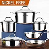 HOMI CHEF 10-Piece Mirror Polished Copper Band NICKEL FREE Stainless Steel Cookware Pots and Pans Sets (No Toxic Non Stick Coating, 2 Frying Pans +1 Saute Pan +2 Sauce Pans +1 Stock Pot)
