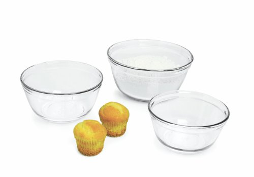 Anchor 77996 3-Piece Mixing Bowl Set, Clear