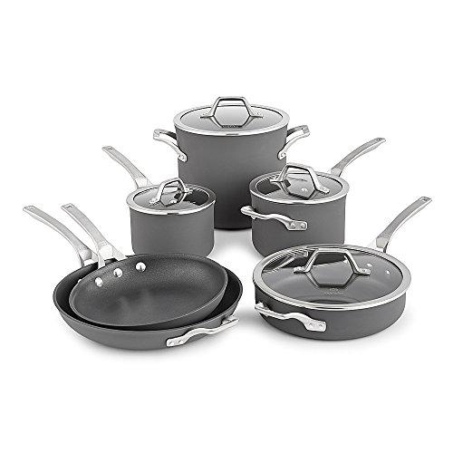 Calphalon Signature Hard Anodized Nonstick Cookware Set, 10-piece, Grey
