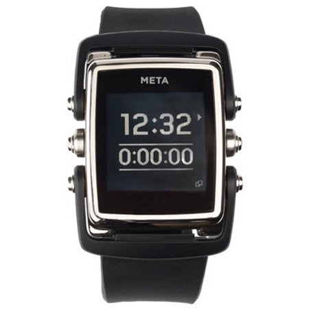 META MW4003 M1 Smart Watch with Stainless Steel Case, Black
