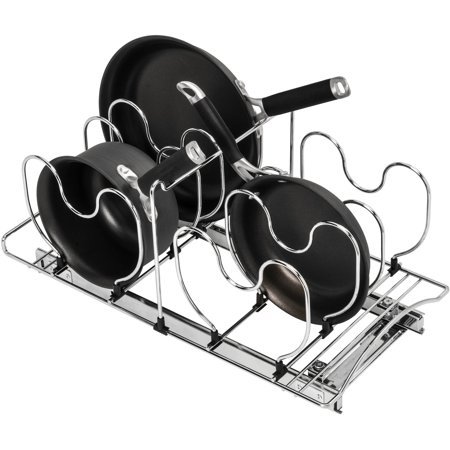 "Lynk Professional ® Slide Out Cookware Organizer, Pull Out Under Cabinet Sliding Rack, 11""W x 21""D, Chrome"