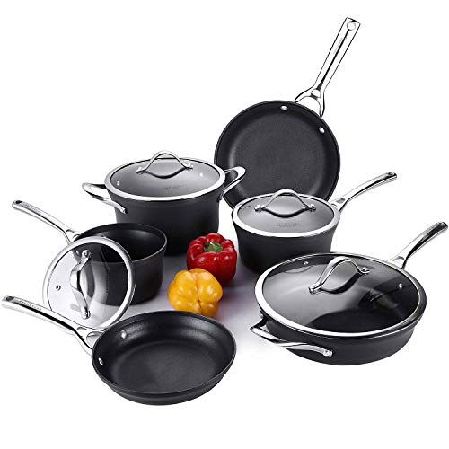 Cooksmark Contemporary Pots and Pans Set, Hard-Anodized Aluminum Scratch Resistant Nonstick Dishwasher Safe Oven Safe PTFE, PFOA Free Cookware Set With glass lids, 6-PCS Black