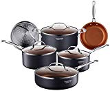 Cooksmark 10-Piece Copper Ceramic Induction Compatible Nonstick Pots and Pans Set, Nonstick Induction Cookware Set with Glass Lids and Steamer insert, Dishwasher Safe Oven Safe PTFE, PFOA Free