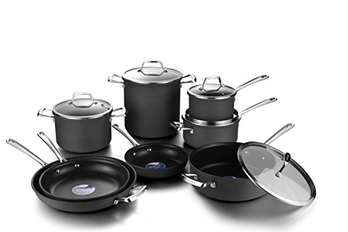 COOKSMARK Hard Anodized Nonstick Induction Cookware Set,13-Piece Aluminum Pots and Pans Set with Lids, Dishwasher Safe Oven Safe, Black