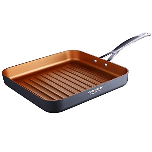 oksmark Copper Pan 10-Inch Nonstick Deep Square Grill Pan, Deep Griddle Pan with Stainless Steel Handle, Dishwasher Safe Oven Safe