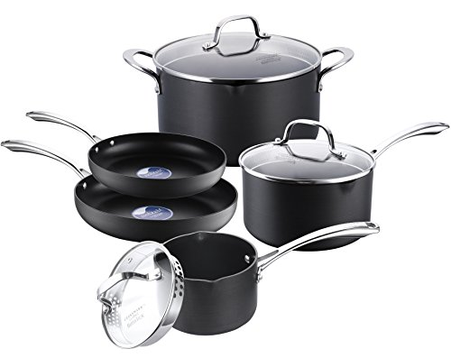 COOKSMARK Hard-Anodized Aluminum Pot and Pan Set, Black Scratch Resistant Nonstick Cookware Set, 8-Piece
