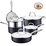 COOKSMARK Ceramic Nonstick Pots and Pans Set, Scratch Resistant Hard Anodized Exterior Cookware Set with White Coating and Steamer Rack 10-Piece Black